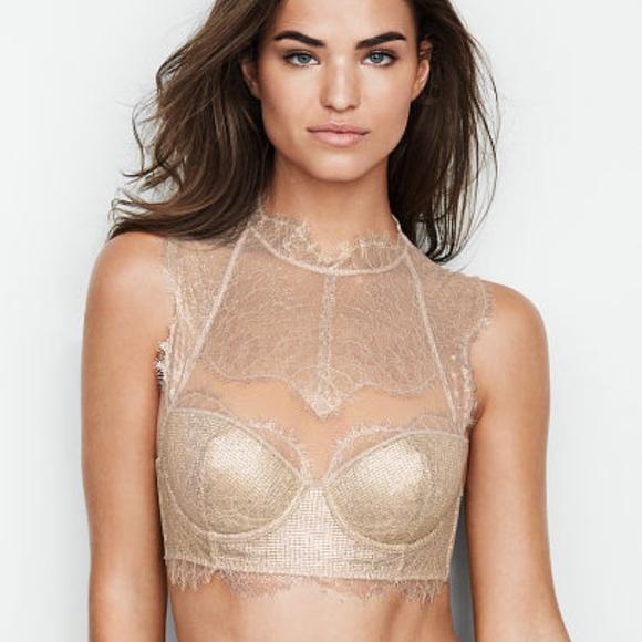 683ef7219ed04 Victorias secret gold shine lace high neck Demi Br